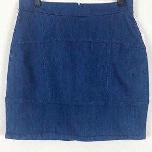 refuge | Stretch Denim Skirt With Panels